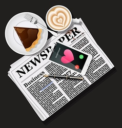 Newspaper and mobile phone with latte art and pie vector