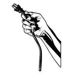 hand with electrical plug vector image