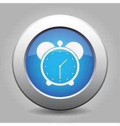 Blue metal button with alarm clock vector