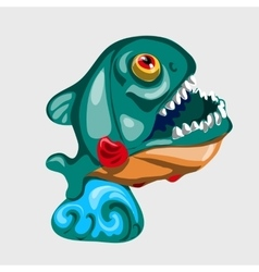 Toothy figure shark with open mouth vector