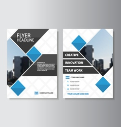Blue square corporate Leaflet Brochure Flyer set vector image
