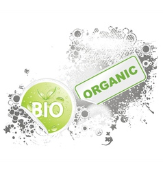 bio stickers with grunge background vector image