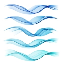 Set abstract color wave smoke lines vector
