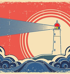 Seascape with lighthouse grunge poster vector