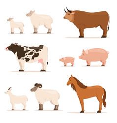 Animals on farm lamb piglet cow and sheep goat vector