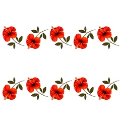 Background with a border of red flowers vector