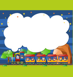 Border template with kids on the train vector