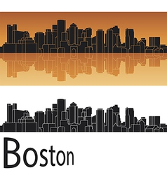 Boston skyline in orange background vector image vector image