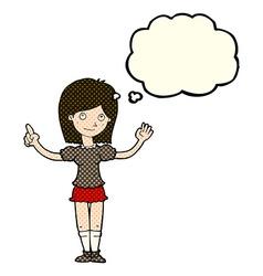 Cartoon woman explaining idea with thought bubble vector