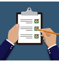 Checklist with hand Check items on paper vector image vector image