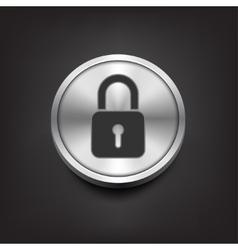Closed lock icon on silver button vector