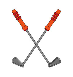 Color image cartoon golf club crossed vector
