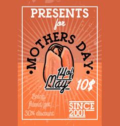 Color vintage mothers day banner vector