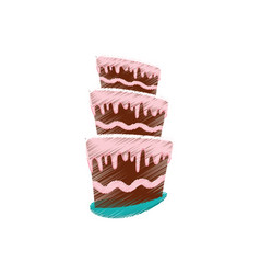 Drawing cake pastry sweet cream vector