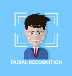 Facial recognition biometrics scanning of male vector