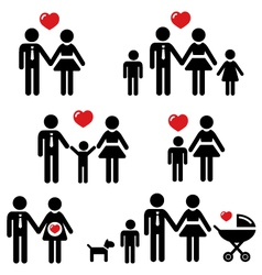 Family people icons vector image vector image