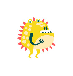 funny yellow barbed cartoon monster fabulous vector image vector image