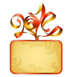 gift box frame and ribbon in the shape of 2014 vector image vector image
