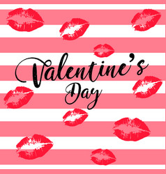 greeting card happy valentines day womens lips vector image vector image