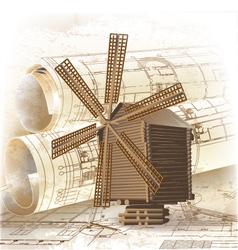 Grunge architectural background with a windmill vector image vector image