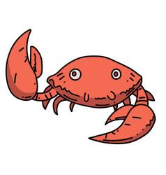 happy crab cartoon hand drawn image vector image