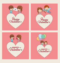 happy valentines set couples love heart balloons vector image