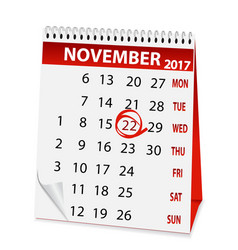 Holiday calendar for thanksgiving day 2017 vector