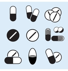 Medical pills icons set vector