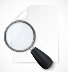 Paper note with magnifying glass icon vector image