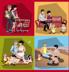 parents and their kids in different situations set vector image