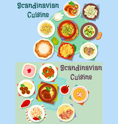 Scandinavian cuisine icon set with fish and meat vector