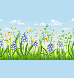 seamless spring flowers nature background vector image vector image