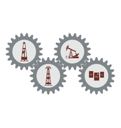 Set gear with silhouettes of the oil industry vector image vector image