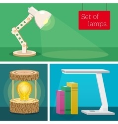 Set of desk lamps Various author s design vector image