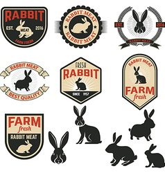 Set of rabbit meat labels badges and design vector image vector image