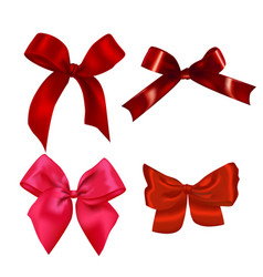 set of realistic red bows vector image vector image