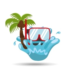 snorkeling water splash palm summer vacation vector image vector image