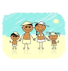 Summer holidays Happy family on the beach vector image