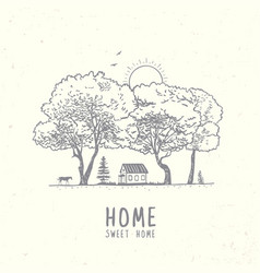 Trees and house vector