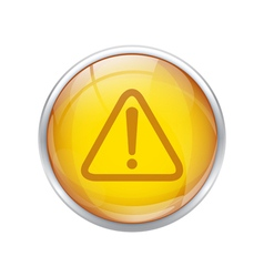 Yellow warning button vector