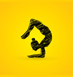 Yoga posing sport woman graphic vector