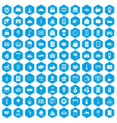 100 hotel icons set blue vector
