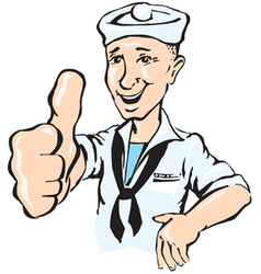 Sailor show thumb up vector
