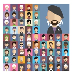 Set of people icons in flat style with faces 09 b vector