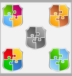 Puzzle Shields vector image