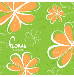 Bright schematic orange flowers vector