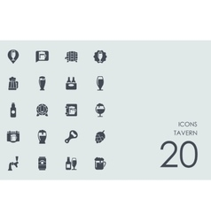 Set of tavern icons vector