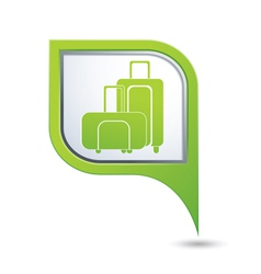 Map pointer with suitcase icon vector