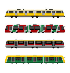 Modern high speed city subway trains set vector
