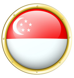 Singapore flag on round button vector